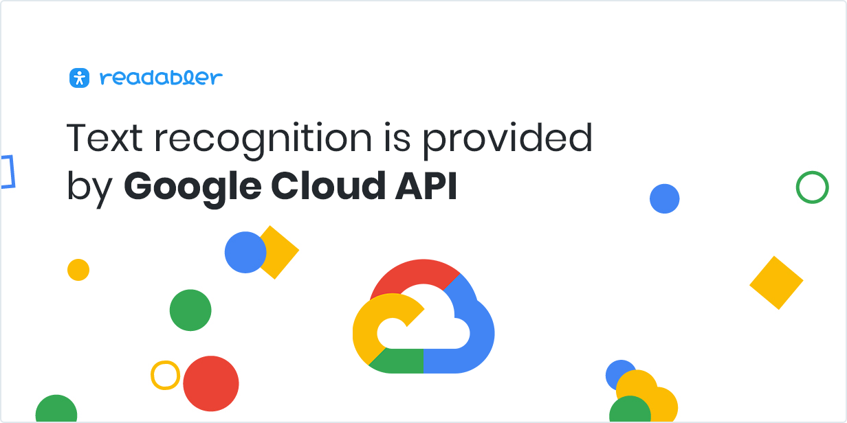 Text recognition is provided by Google Cloud API