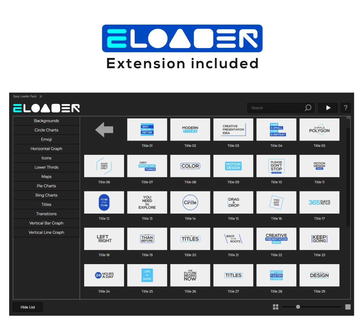 AE模板+脚本-500个字幕条文字标题信息数据图表转场背景表情图标动画