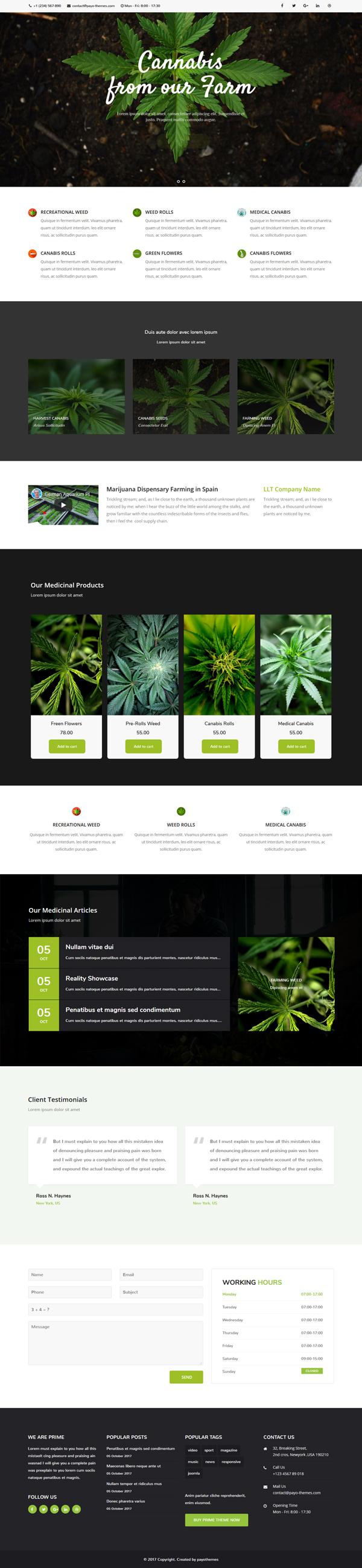 joomla cannabis weed marijuana template