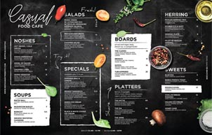 Table Mat Cafe Menu