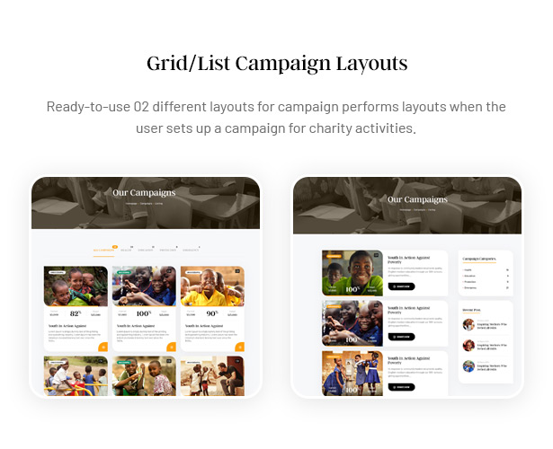 Gainlove Nonprofit WordPress Theme - Grid/List Campaign Layouts