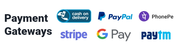 gateways de pagamento suportam dinheiro na entrega, tarja e paypal, razorpay, google pay, telefone pe, paytm, paystack