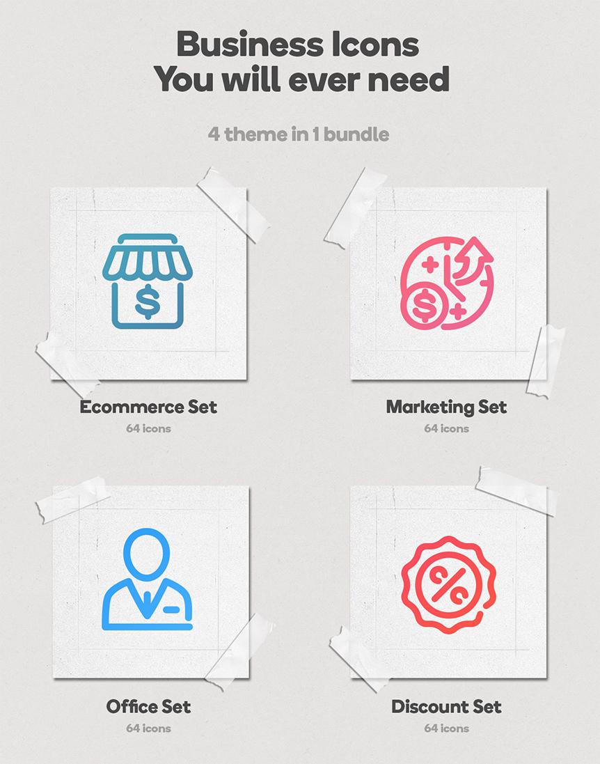 Business Bundle 256 Animated Lottie Icons - Ecommerce Marketing Office Discount - 2
