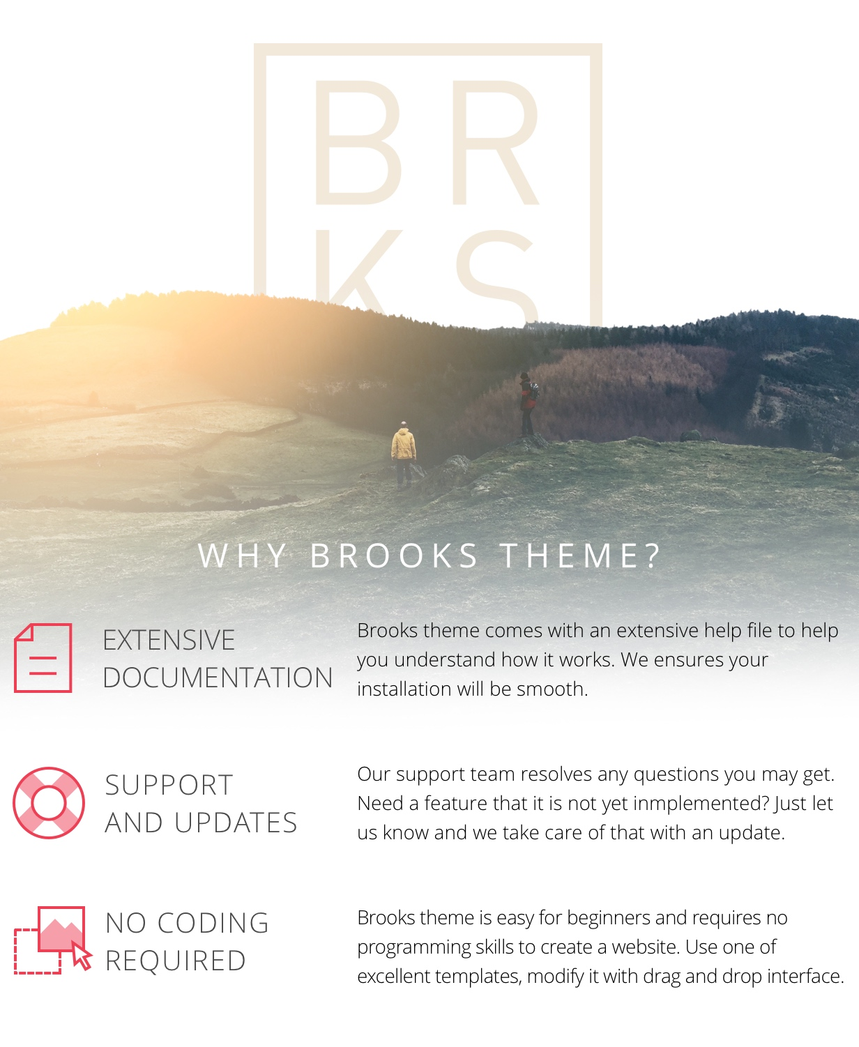 Why Brooks Theme? Extensive documentation, support and updates, no coding required