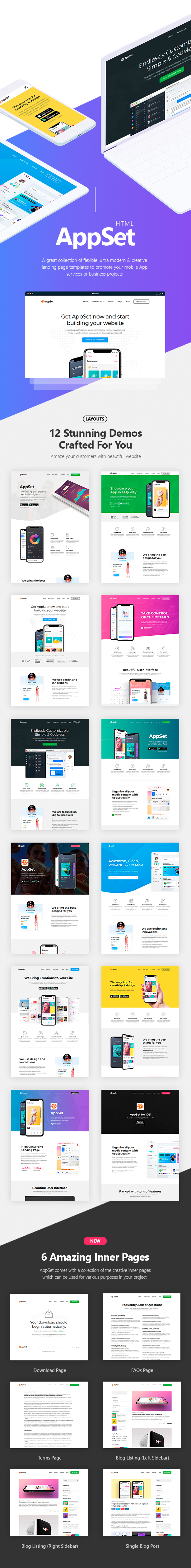 Appset App Landing Pages Pack