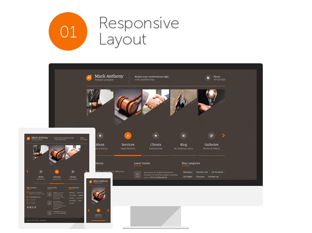 advocate, attorney, corporate, legal, law and lawyer WordPress Theme