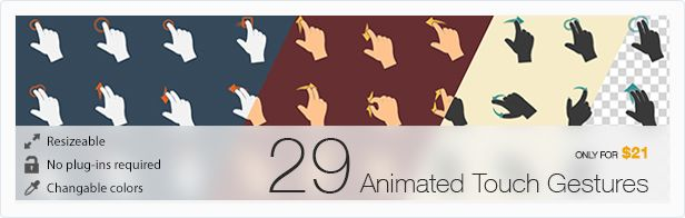 Animill - 29 Animated Touch Gestures