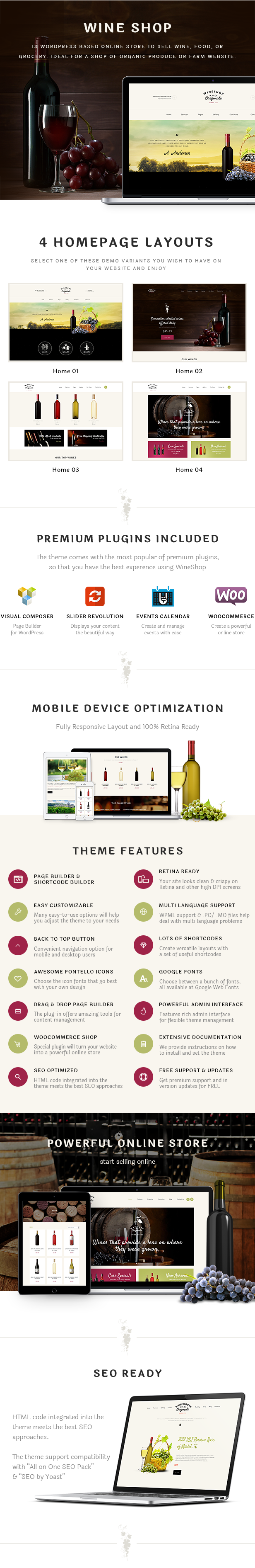 Food & Wine Online Store WordPress Theme features