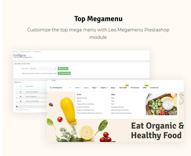 Top Megamenu Customize the top mega menu with Leo Megamenu Prestashop module