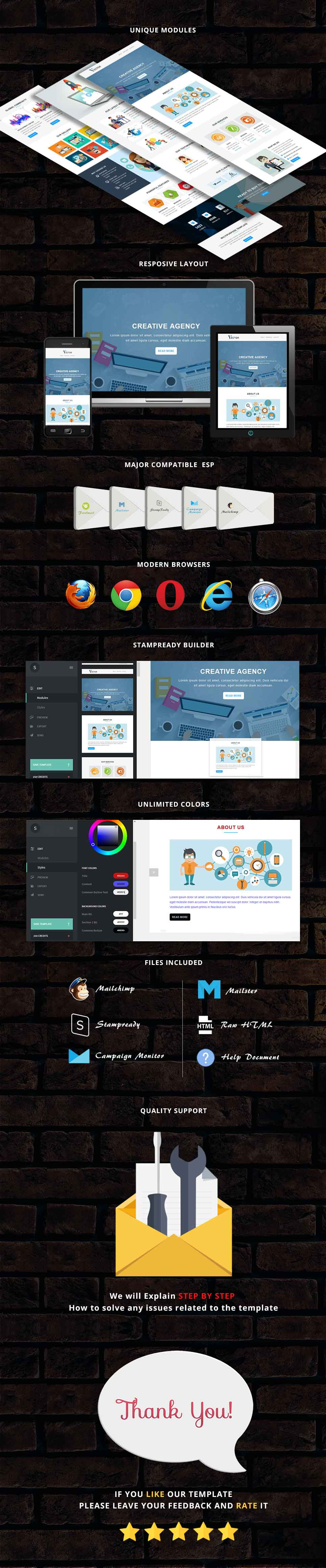 Vector - Responsive Email Template + Stampready Builder