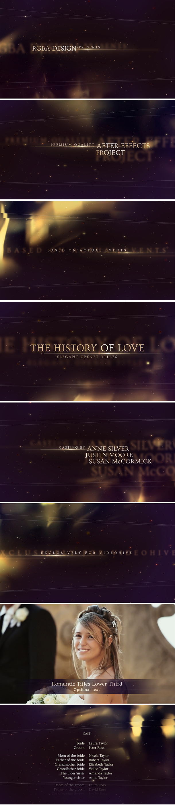 Elegant Titles After Effects Template with golden bokeh lights and shimmering particles, perfect for majestic wedding film & beautiful love story