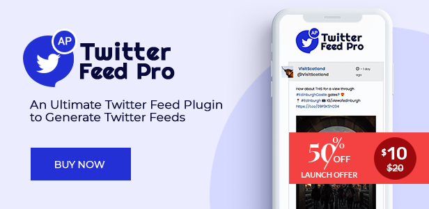 AccessPress Twitter Feed Pro Discount banner Launch Offer - 50% off