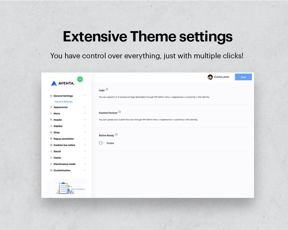 Extensive theme settings