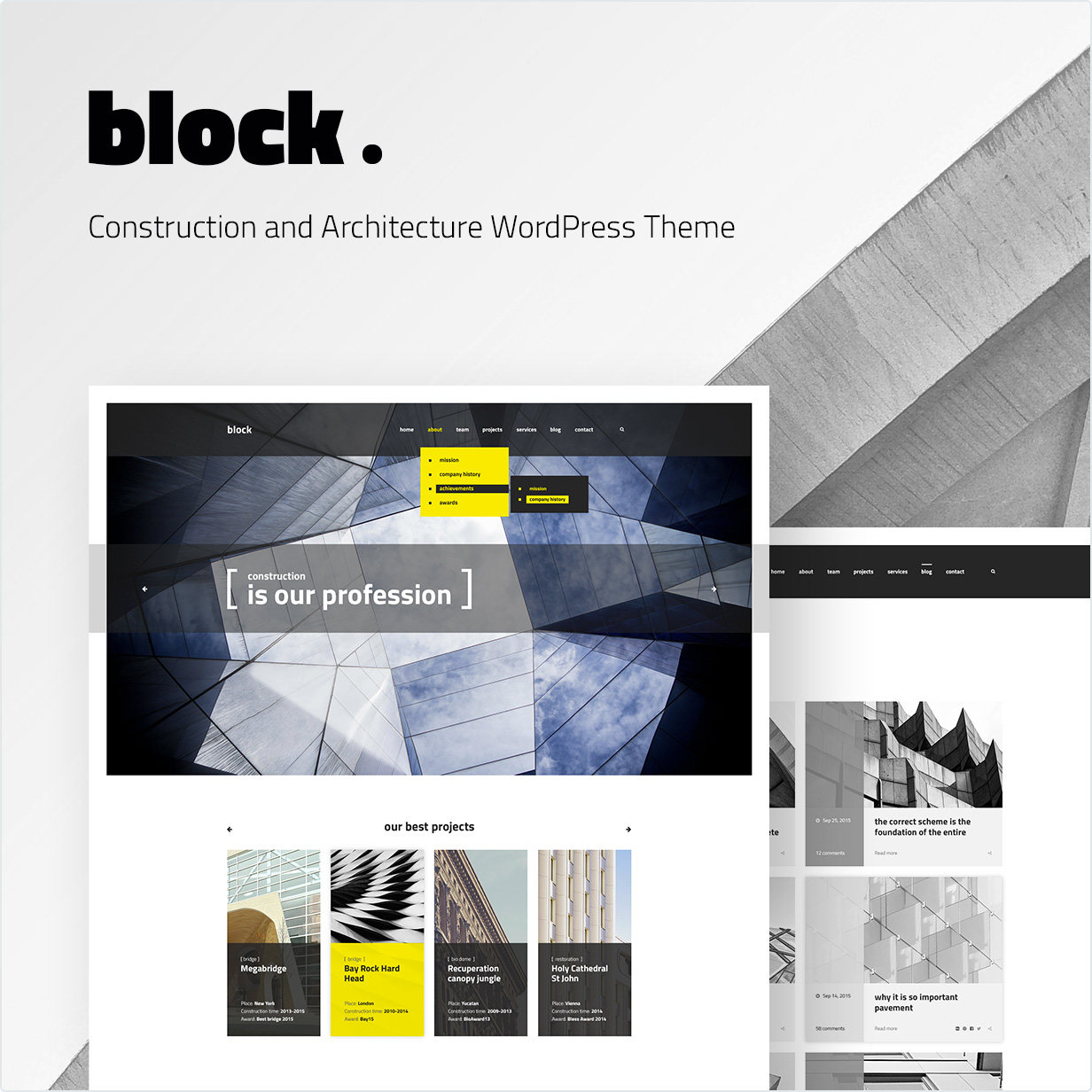 Attirant Construction And Architecture WordPress Theme Block