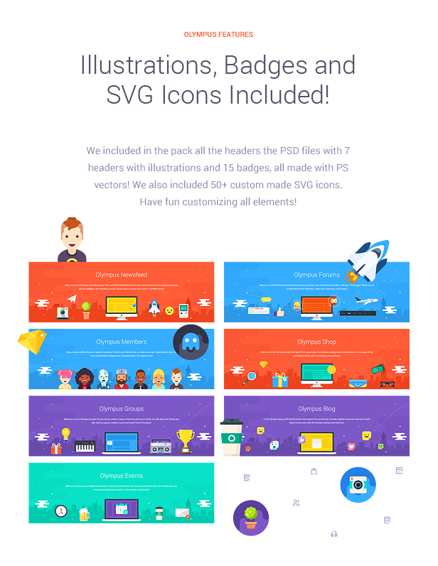 Illustrations, Badges and SVG Icons Included!