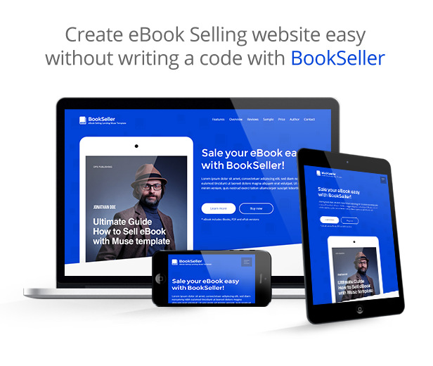 bookseller ebook selling responsive muse template by vinyljunkie
