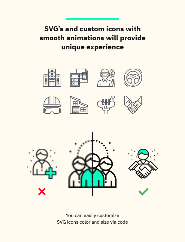SVG's and custom icons with smooth animations will provide unique experience