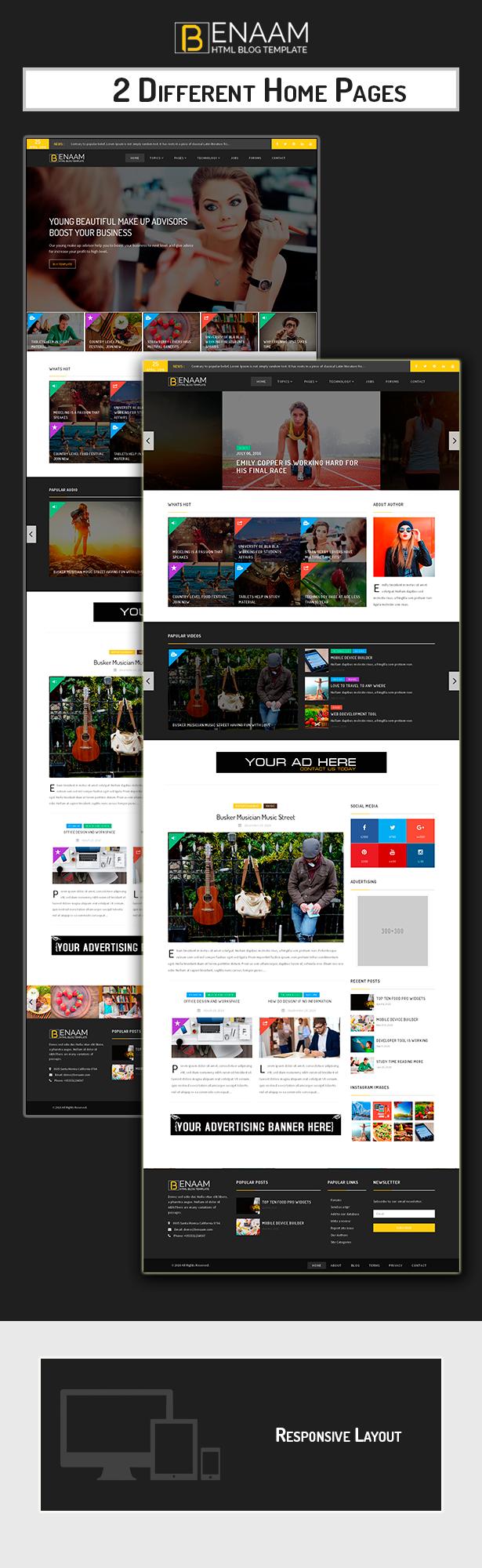 Benaam Modern Blog / Megazine / News / Video Template by scriptsbundle