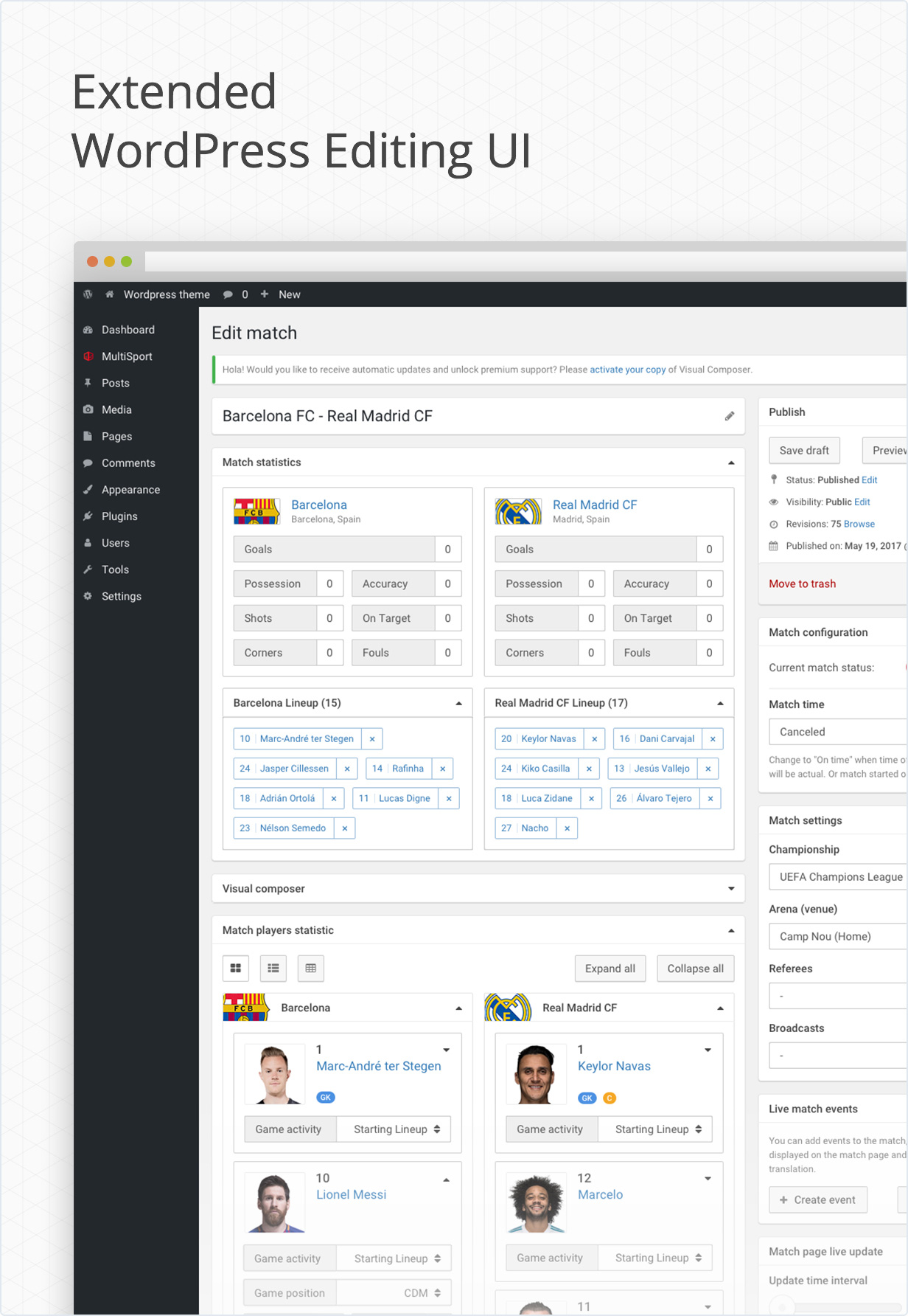 Extended wordpress admin panel UI