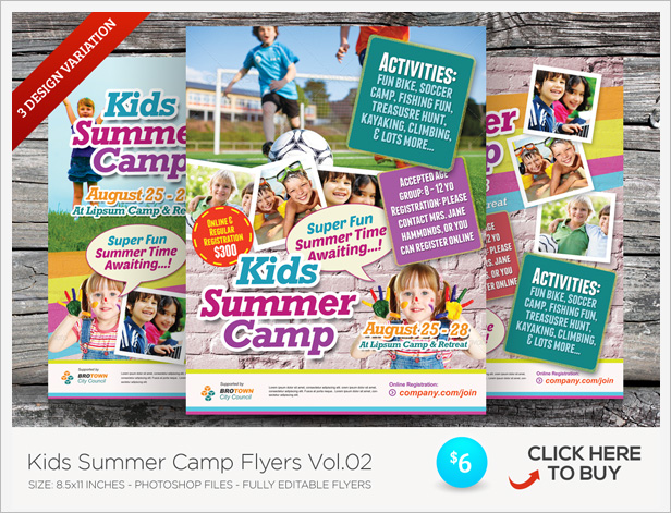 Kids Summer Camp Flyer Templates By Kinzishots GraphicRiver - Summer camp brochure template