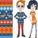 Fashion Hipster Girls in Knitted Sweaters - 3