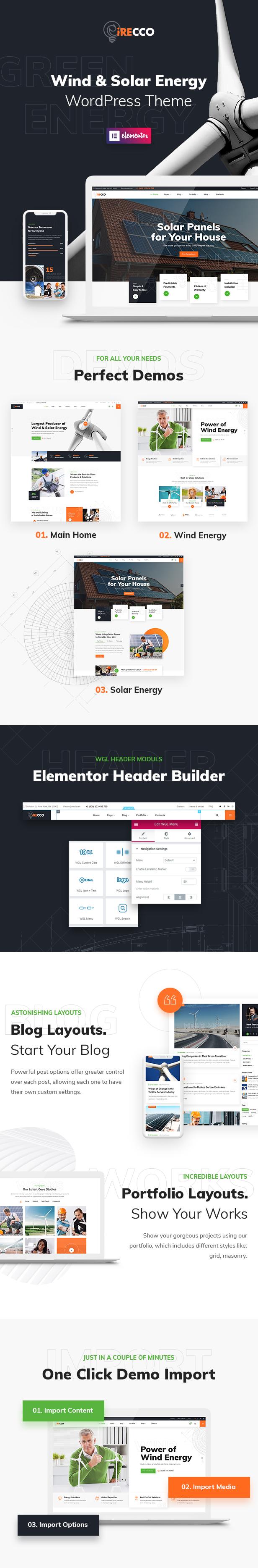 iRecco - Wind & Solar Energy WordPress Theme - 1