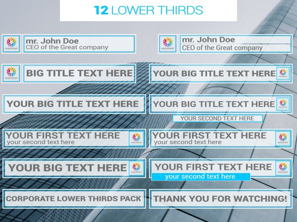 Corporate Lower Thirds & Elements Pack - 1