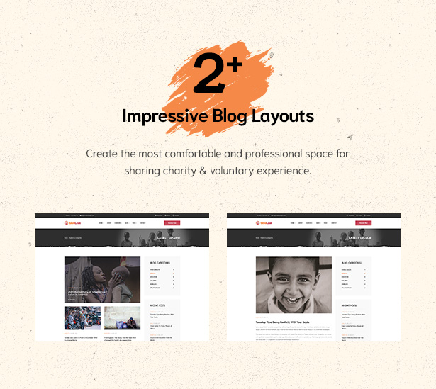 02+ impressive blog layouts in Givelove Non Profit Charity & Crowdfunding WordPress Theme