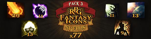 77 RPG Fantasy Spells Icons