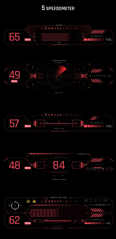 AE脚本-500个HUD高科技赛博朋克UI科幻界面元素动画预设包 Cyberpunk HUD UI 500+ 已修复中文版AE表达式报错插图10