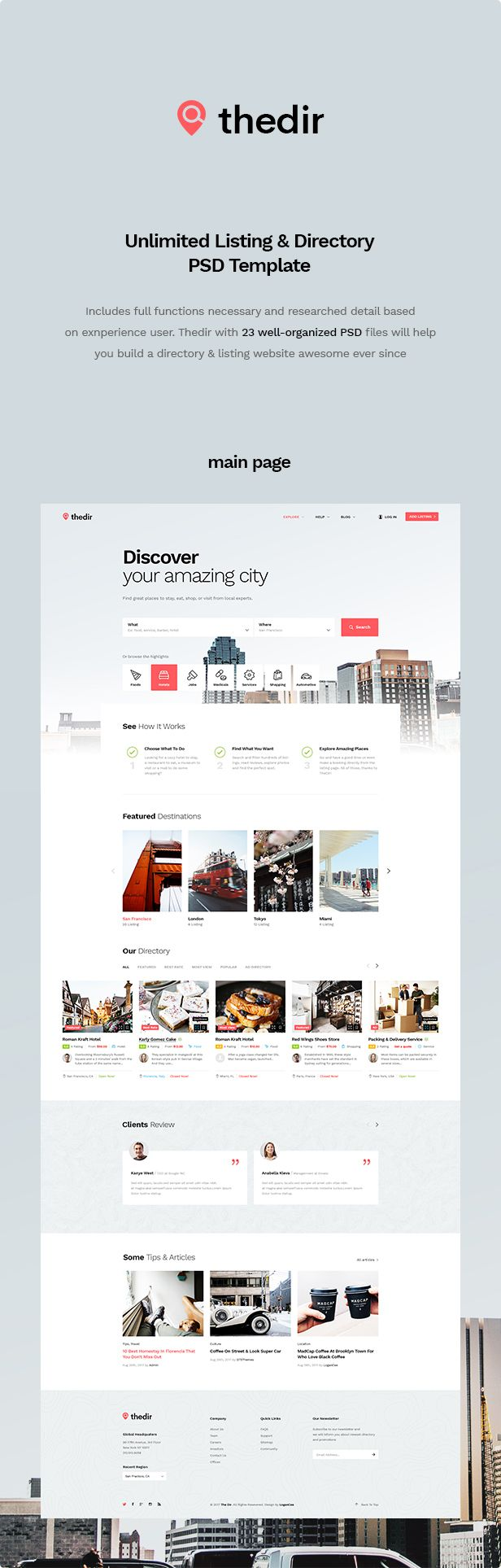 Thedir | Unlimited Listing & Directory PSD Template - 4