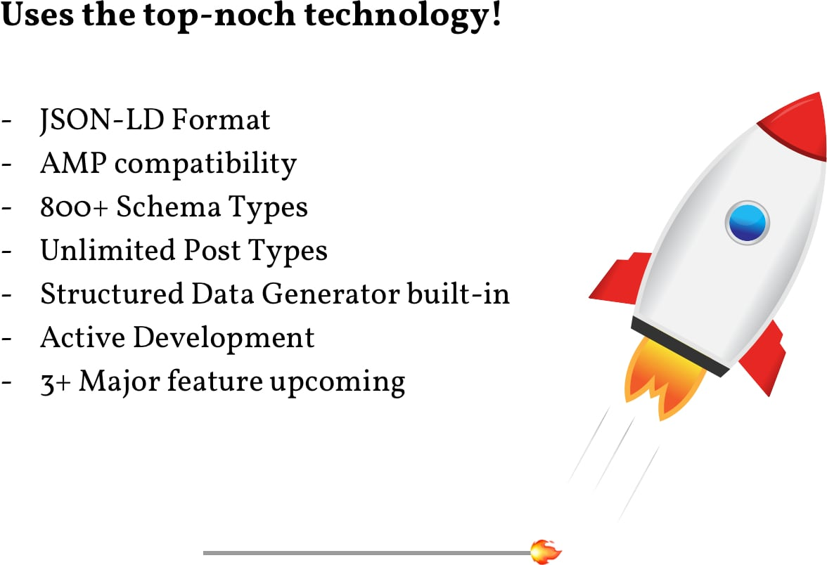 Uses top-noch technology: JSON-LD Format; AMP compatibility; 800+ Schema Types; Unlimited Post Types; Structured Data Generator built-in; Active Development; 3+ major features upcoming.