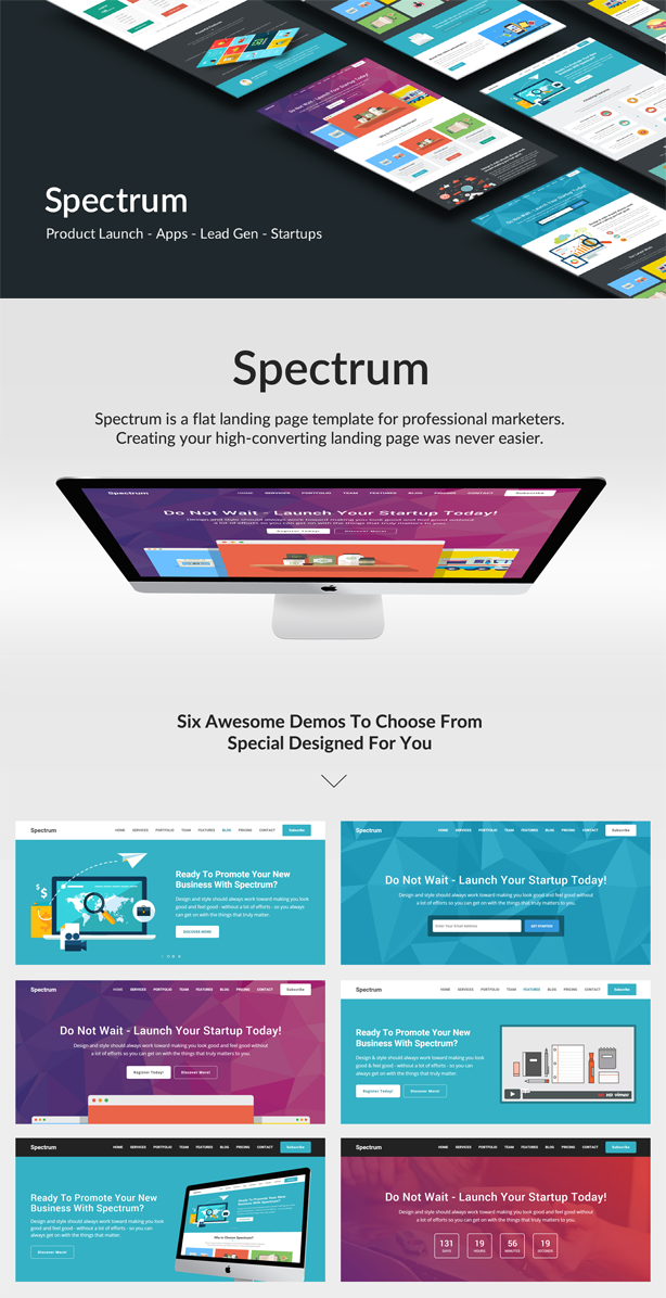 Spectrum Responsive Landing Page Template By EpicThemes ThemeForest - Create web page template