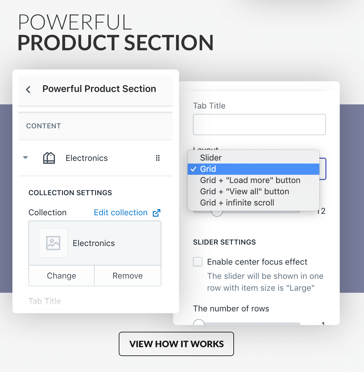 Powerful product section