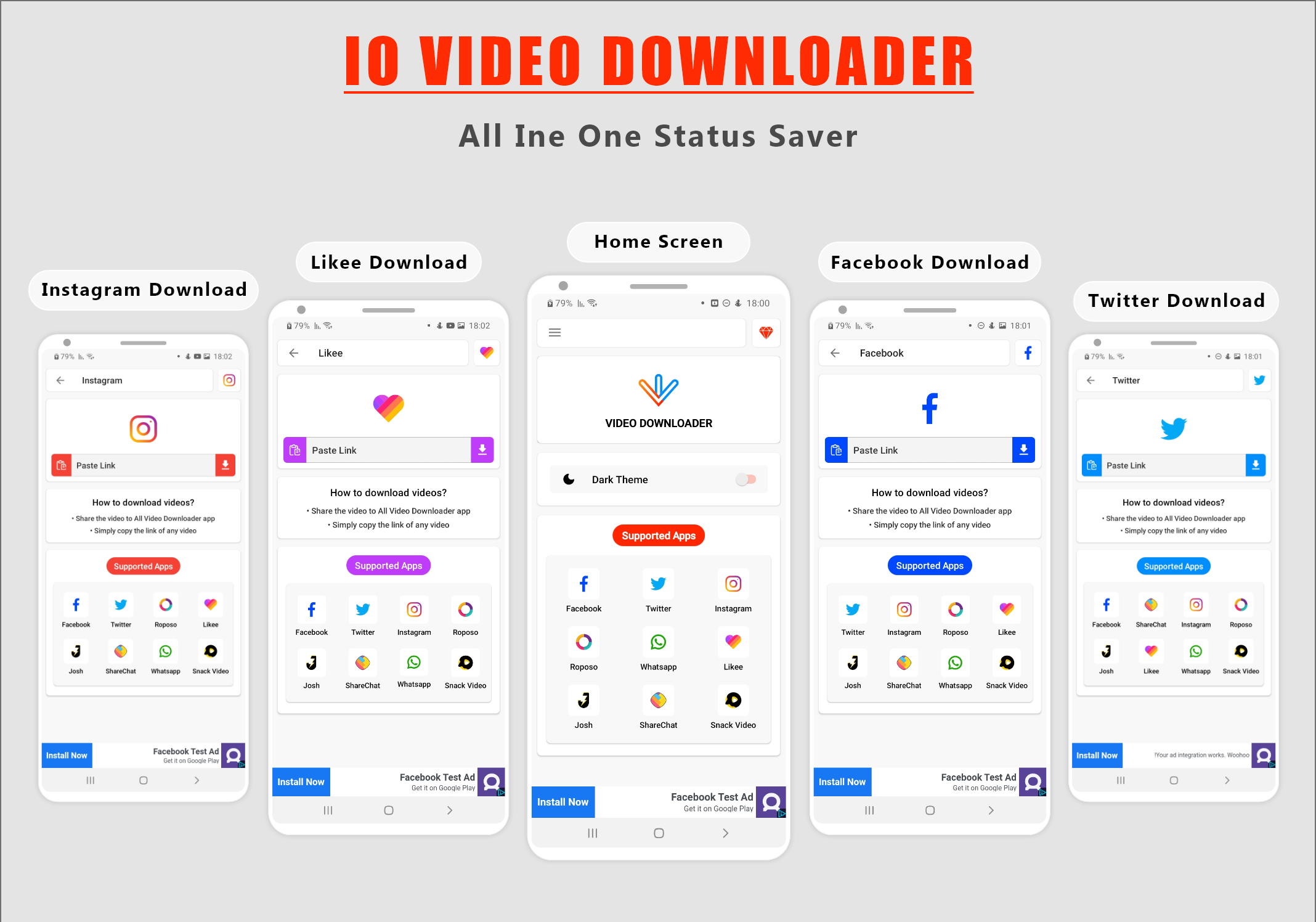 IO Video Downloader - All In One Status Saver Without Watermark + [ In-App Purchase ] - 2