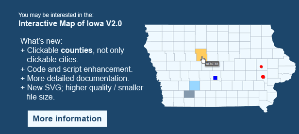 Interactive Map of Iowa  - Clickable Counties