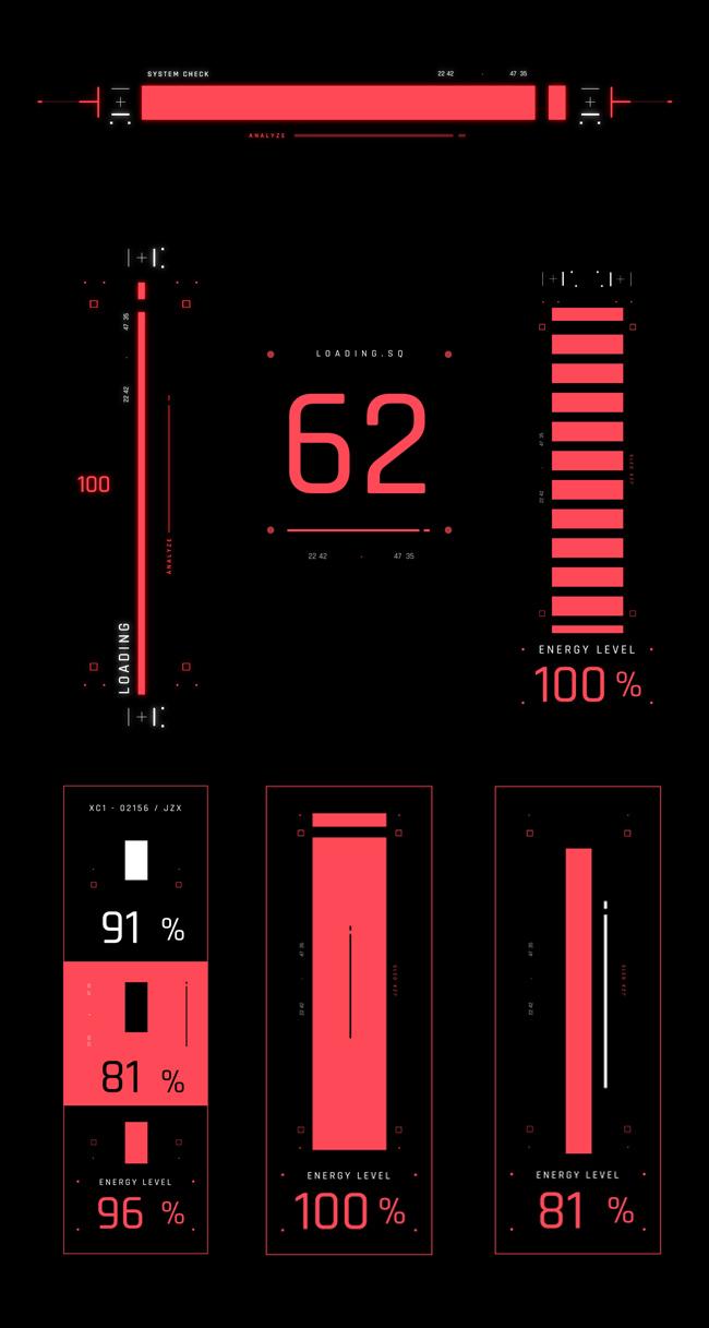AE脚本-500个HUD高科技赛博朋克UI科幻界面元素动画预设包 Cyberpunk HUD UI 500+ 已修复中文版AE表达式报错插图39