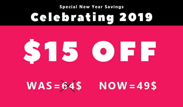 New year sale 2019, 15$ Off