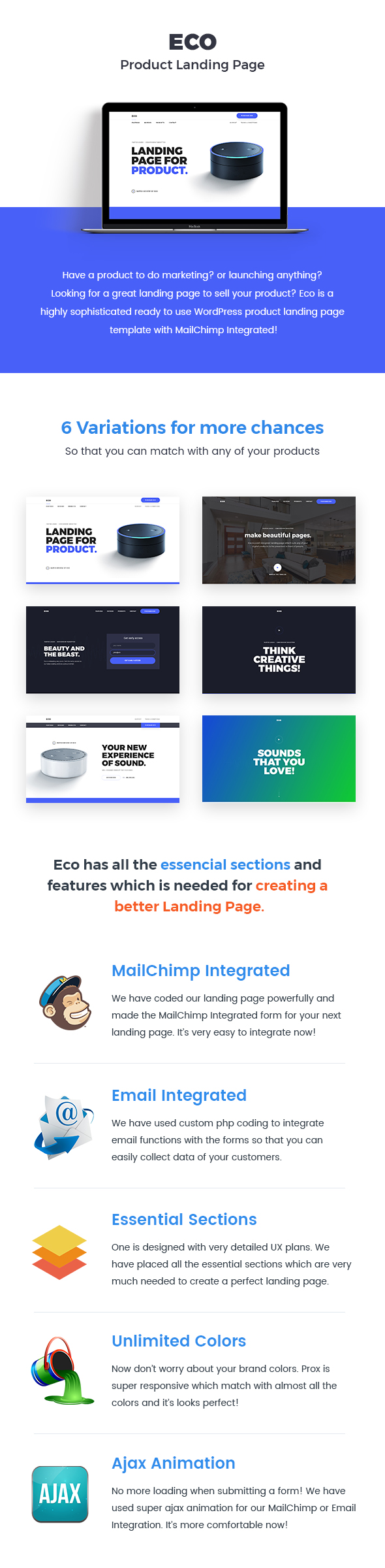 Eco wordpress product landing page by dhrubok themeforest we have made the ux of eco with huge research on live products so that our customers can easily use this template for their product maxwellsz
