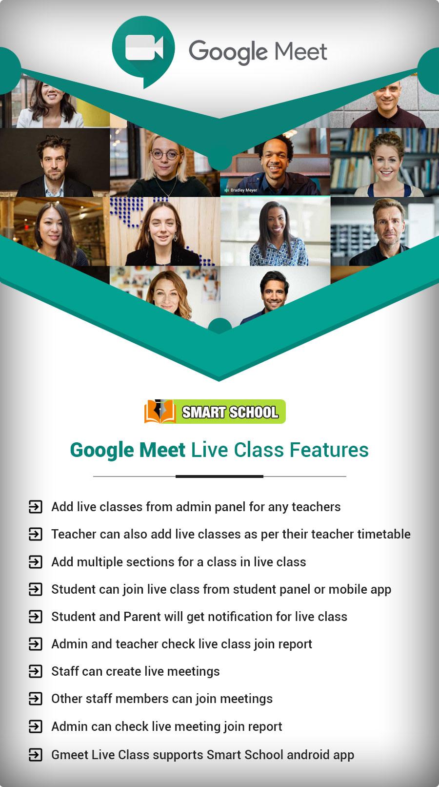 Smart School Gmeet Live Class features