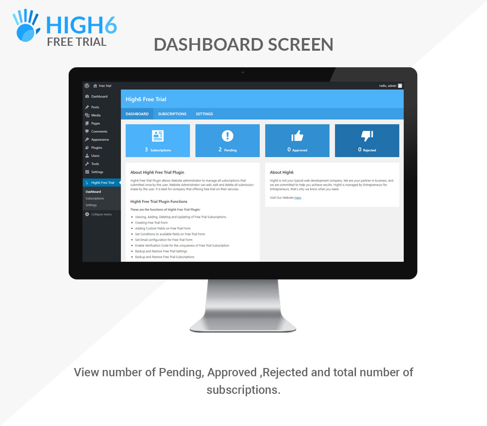 High6 Free Trial Dashboard Screen