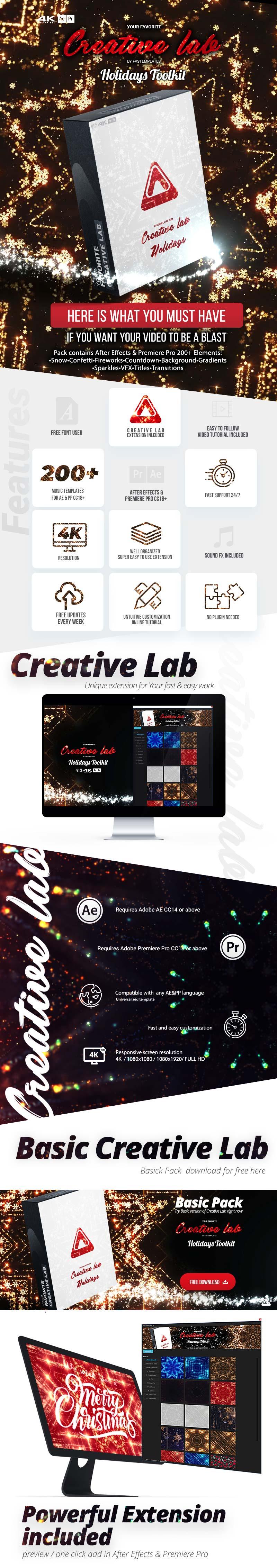 AE/PR脚本-圣诞节新年派对庆典活动时钟倒计时背景烟花雪花元素动画工具箱插图2