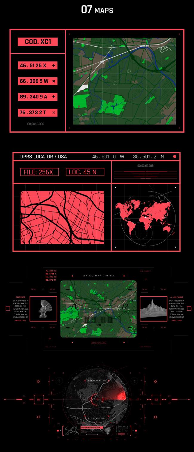 AE脚本-500个HUD高科技赛博朋克UI科幻界面元素动画预设包 Cyberpunk HUD UI 500+ 已修复中文版AE表达式报错插图17