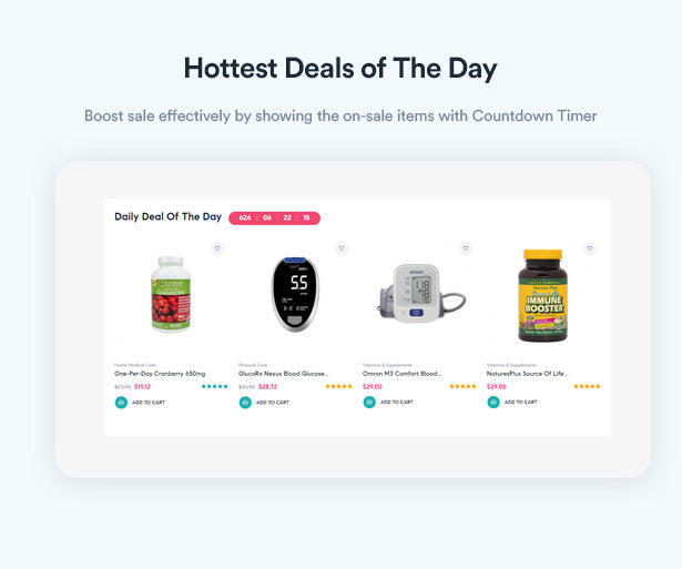 Hottest Deals of The Day Boost sale effectively by showing the on-sale items with Countdown Timer