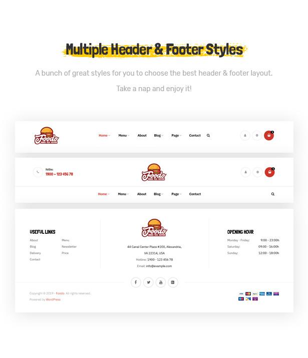 Foodo Headers & Footers- Fast Food Restaurant WordPress Theme