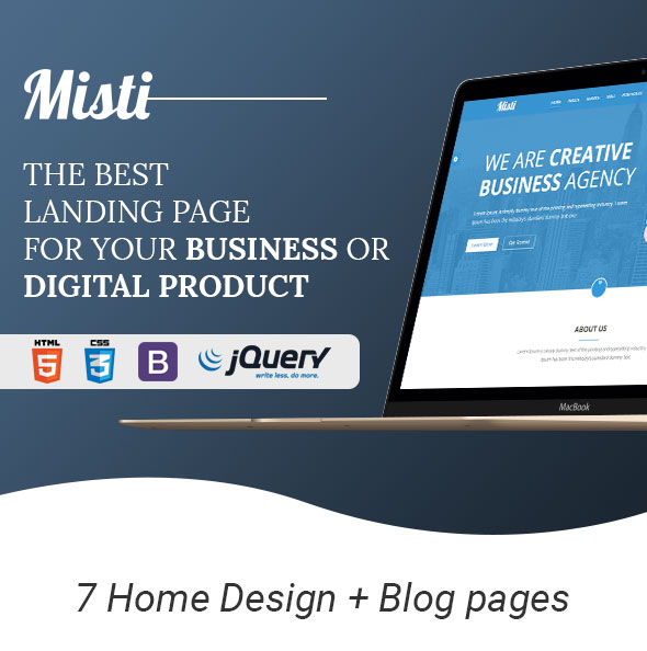 Misti – One Page Corporate and Business  Landing template - 1
