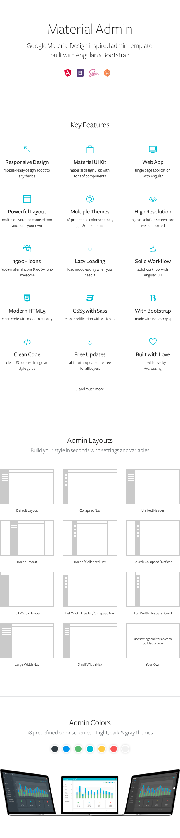 Material Design Angular Admin Web App with Bootstrap 4
