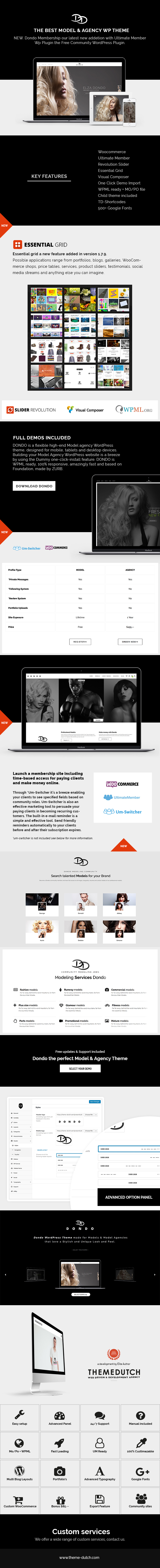 Dondo model agency wordpress theme
