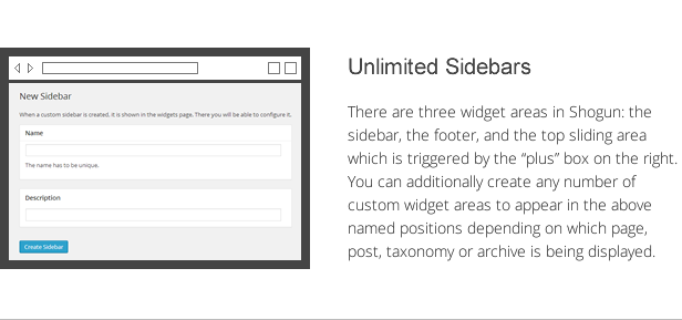 shogun features - unlimited sidebars