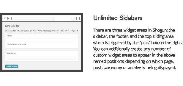 shogun features - unlimited sidebars